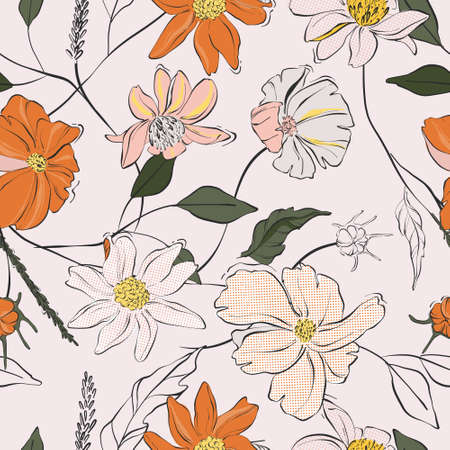 Flower power seamless pattern. Daisy bloom repetition design. Colorful leaves and buds