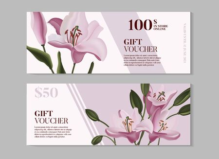 Hand drawn purple lily and  Tropical dark green leaves gift voucher design, branding, invitation  template, advertising graphics in vector. Calla romantic illustration, jungle decoration.