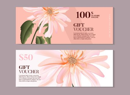 Elegant magnolia flower gift voucher template in vector. Hand-drawn business concept for banner, beauty salon, spa, handmade products, eco packaging design.