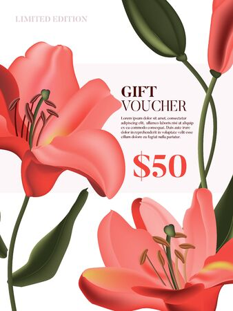 Vector coral lily advertising voucher. Floral gift card, wedding invitation template, red blossom design, spring nature holiady decor. Calla garden flower.