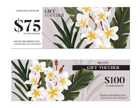 Vector hand-drawn hibiscus flowers,  paradise exotic  plumeria flowers gift card template, business card with tropical plant and palm leaf. Summer advertising. Realistic 3d botanical watercoolor art. Illustration
