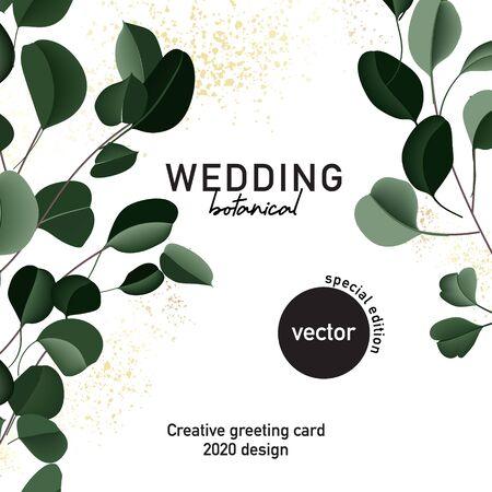 Eucalyptus floral Wedding card, hand-drawn vector concept with golden sparkles. Realistic Green leaves template, foliage graphics, bouquet greenery decoration. Illustration