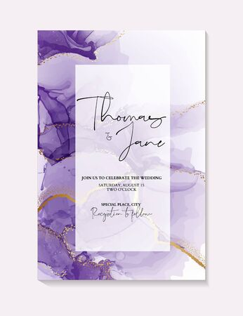 Watercolor purple ink splash with gold foil sparkles  on Bridal shower template, wedding invitation, save the date card. Фото со стока - 137647162
