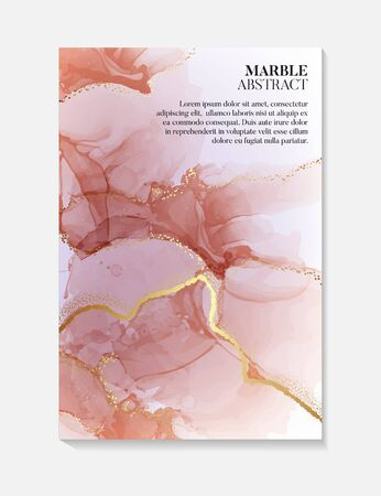 Alcohol ink  vector art, Watercolor liquid flow red rust gold splashes. Abstract acrylic brochure, business card template poster advertising design. Modern art. Иллюстрация