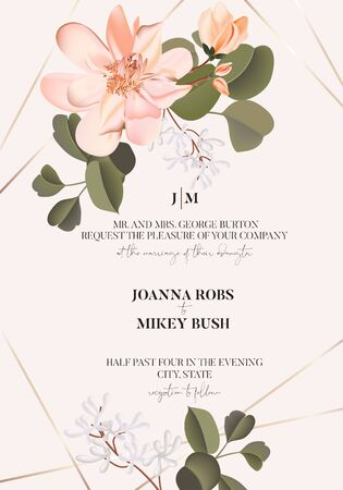 Realistic pink Rose flower with greenery leaves, spring vector wedding card with gold frame elements, greeting invitation template. Summer Blossom, watercolor illustration on beige background.
