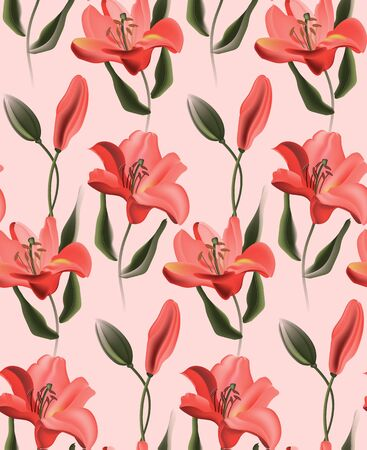 Coral lily, red calla or contrast tulip flowers on pink background. Kitchen decoration with realistic paradise plants. African contrast template, tropical decoration, seamless bouquet. Ilustrace