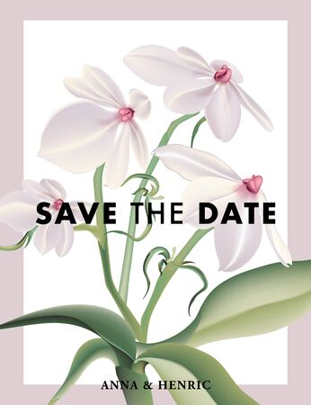 Flower Save the date card with realistic Aerangis luteo alba. Rustic bridal illustration graphic design template. Boho holiday greeting paper stationery advertising poster. Vector. Ilustração
