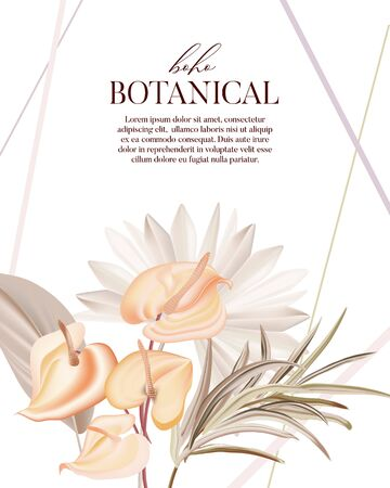 Bohemian  plant: pampas, dried palm, orchid, calla realistic vector flowers.  Modern herb boho design, wedding card template.