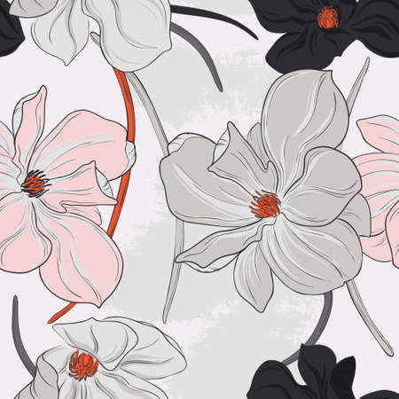 Magnolia flower seamless pattern grey pink colors. Line art vector
