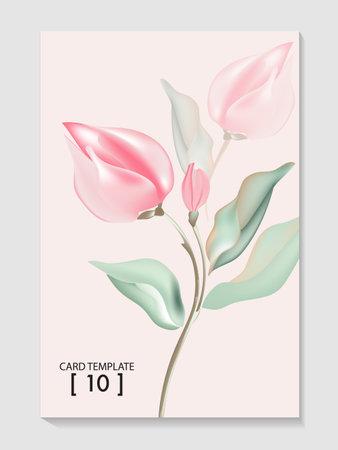 Watercolor rose bud Flower branch illustration in vector. 矢量图像