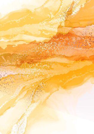 Alcohol ink drawing technik, oriental water splash decor. Fine art watercolor fluid ink in yellow color, marble 2020 vector with golden paint.
