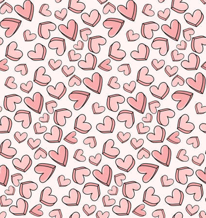 Valentine day concept, heart love pink seamless pattern