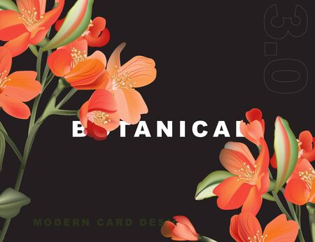 Macro astromelia card with exotic green leaves and contrast orange flowers. Tropical Wedding concept, botanical garden flowers bouquet. Spring invitation poster. Иллюстрация