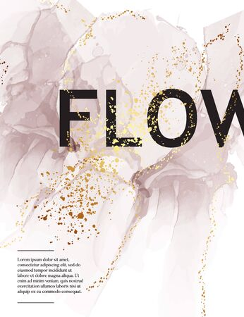 Grey marble abstract flow, dynamic minimalistic background with golden sparkles, blended watercolor shapes in earthy palette, terracotte collection. Branding decor 2020, vector.