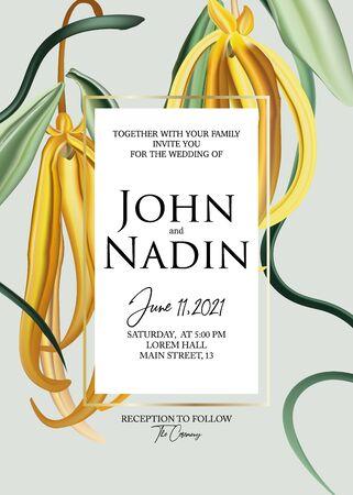 Ylang ylang macro flower botanical greeting card. Wedding invitation flower design. Nature tropical exotic paradise liana flowers , foliage illustration in vector.