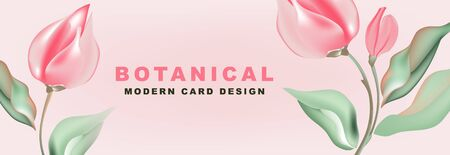 Tulips romantic nature advertising: promotion banner, greeting card, party invitation, holiday sales, poster, website banner, packaging, email discount template. Horizontal Vector..