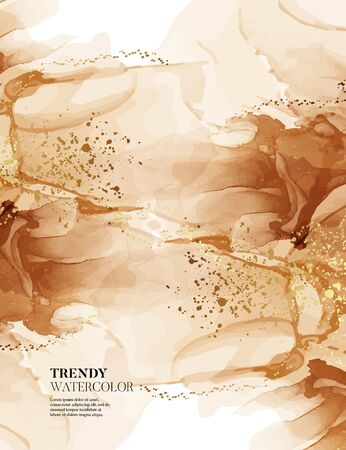 Warm colors earth tone vibes, marble minimal dynamic design. Terracotta color rust alcohol ink with gold shining shapes, color 2020 wedding design.