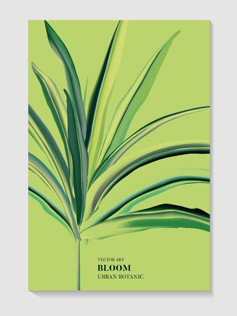Greenery palm invitation card template design. Tropical leaf various green illustration on fresh background. Realliistic vector