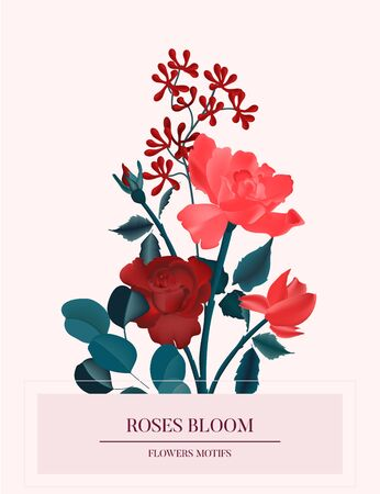 Amore red roses romantic flower card. Nature botanical spring concept, holiday greeting save the date card. Hand-drawn vector wild garden rose bouquet illustration