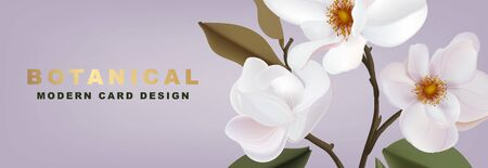 White Magnolia romantic floral advertising: promotion banner, greeting card, party invitation, holiday sales, poster, website banner, packaging, email discount template. Horizontal Vector.