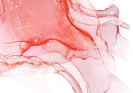 Abstract alcohol ink pastel coral pink color paint with pastel golg texture background. Fluid creative concept composition with copy space. Minimal natural luxury wallpaper. Vector