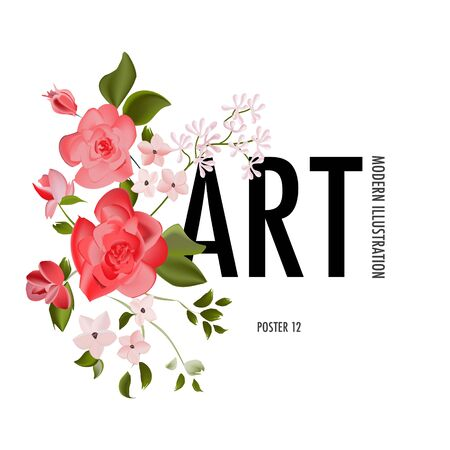Wild roses flower, watercolor realistic herb leaf and floral branch, vector element. Summer plant garden design. Vintage cute watercolor bloom. Pink red drawing Иллюстрация