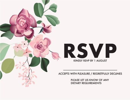 Greeting card with wild roses, eucaliphys leaves watercolor design. Realistic rsvp nature design invitation card for wedding, birthday, party, bride holiday and summer background Иллюстрация