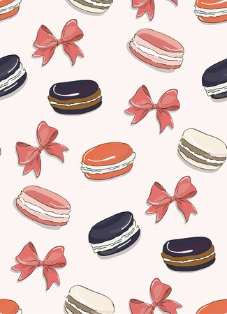 Macarons pink bakery pattern on white background. Colorful coral french biscuit desserts with bow tender texture design for packaging, branding, posters, banners, advertising Иллюстрация