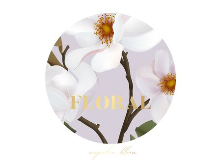 Magnolia realistic vector flower card with gold text, wedding design, holiday greeting postcard composition. Wild rose flower bouquet horizontal circle design in vector