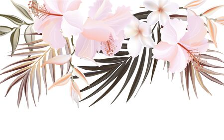 Watercolor hand painted hibiscus and palm floral banner isolated on white background. Wild tropical Herbs for cards, wedding invitation, posters, save the date or greeting design. Vector Иллюстрация