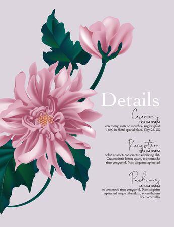 Violet dahlia flower, macro sunflower design, floral blosoom card. Vintage holiday greeting art. Vector.