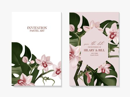 Orchid flowers and monstera leaves poster decor 2020. Graphic exotic tropical nature art in vector. Summer foliage wedding template in rose gold greenery colors.
