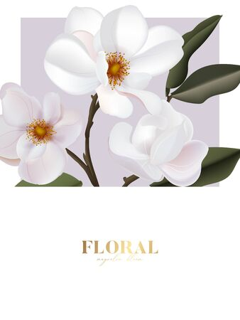 Magnolia vector flower card with gold text, wedding design, holiday greeting postcard composition. Wild white rose flower bouquet vertical design. Иллюстрация