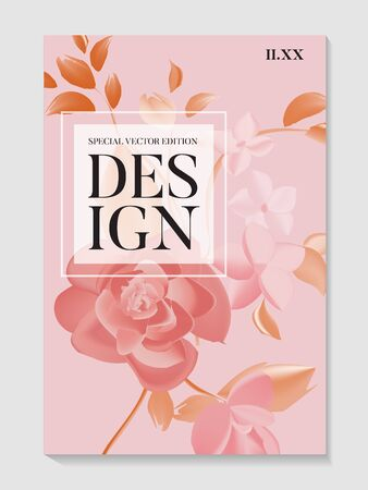 Flowers roses and foliage wedding invitation card template design, modern floral and leaves set. Realistic vector wedding ceremony design, holiday invitation.