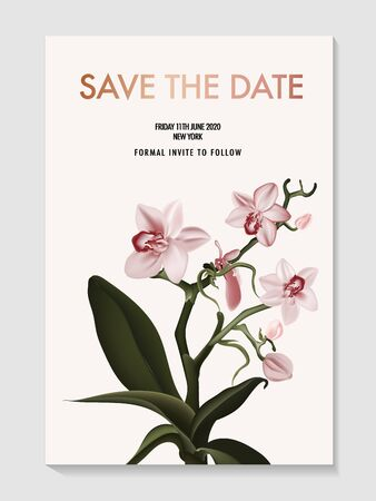 Orchid realistic flower Save the Date card. Tender pink floral nature poster, holiday invitation, florist boutique advert, wild flower bud and branch herb card. Vector Иллюстрация