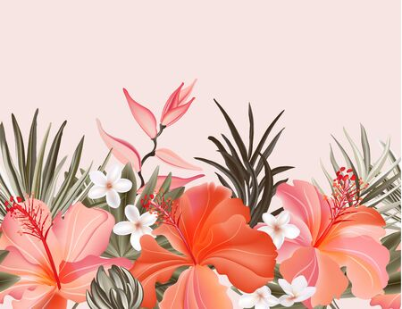 Tropical hibiscus plumeria vintage graphic floral pampas grass ,palm leaves Exotic orange pink frame, floral border seamless wallpaper. Vector.