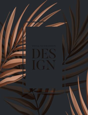 Dry palm tropical leaves summer background. Festival exotic natural design, black beige paradise ad card, banner, pattern. Vector.