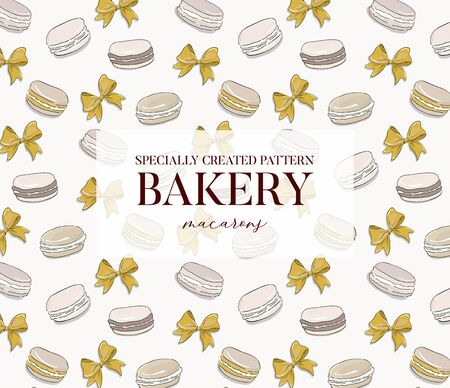 Macarons bakery pattern on white background. Colorful yellow french biscuit desserts with bow tender texture design for packaging, branding, posters, banners, advertising . Иллюстрация