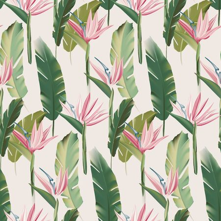 Stelitzia hawaii greenery pattern, palm leaves relax jungle design.  Bird of paradise summer beach vacation design. Botanical illustration.  Vector  イラスト・ベクター素材