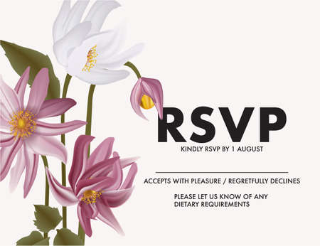 RSVP violet daisy Flower illustration in vector. Tender summer bloom garden bouquet