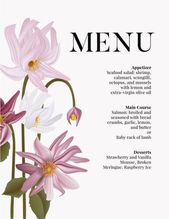 Daisy violet wedding card. Flower illustration in vector. Menu, bridal shower template 矢量图像