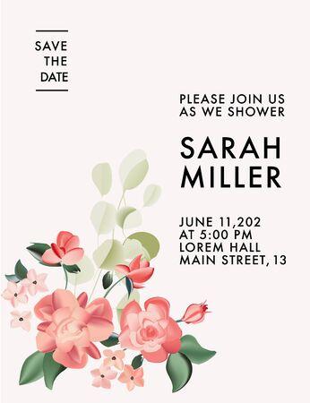 Roses 2020 realistic flower design. Beauty summer vector wedding invite bridal card.  Wild garden flower holiday greeting save the date. Иллюстрация