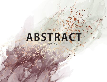 Abstract pastel neutral poster. Marble ink trendy Texture in Pastel and Gold colors paastel paint, watercolor oil with  gold, ink swirl pattern. Macro stone design in vector.