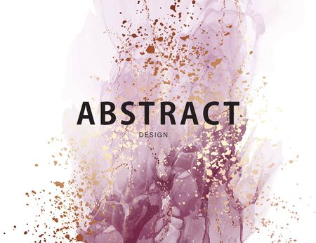 Purple ink watercolor design. Modern alcohol ink texture, grunge brush abstract art with gold foil splashes. Artistic background in vector.