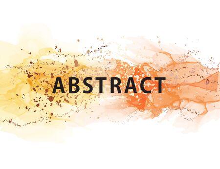 Yellow gradient orange Color ink Splash series. Alcohol ink vector background design of fractal liquid paint and gold rich imagination   texture, creativity and art, interior design. Иллюстрация