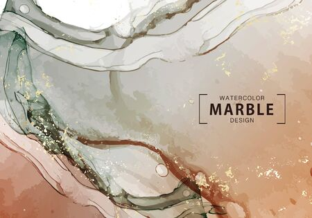 Watercolor marble design, motion liquid flow contemporary spalsh. Warm rust and tauple color background. Abstract wallpaper, macro wave background. Fine art canvas in vector.