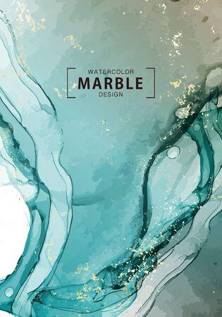 Deep blue ocean watercolor wave macro abstract art. Alcohol ink background. Fluid template, fine art pastel gragient palette, macro vector. Illusztráció