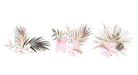 Floral hibiscus palm card vector design: wild garden exotic flower pink peach Rose white plumeria green pampas grass leaves ,elegant greenery forest bouquet print.Wedding rustic Invitation Vector. Иллюстрация