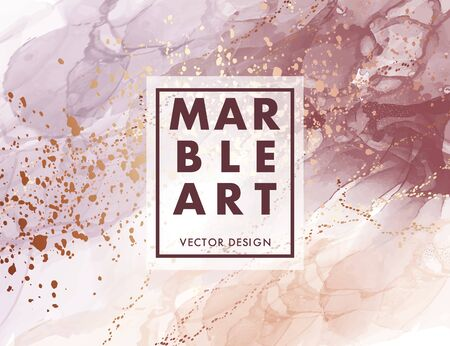 Alcohol ink marble gradient neutral design. Creative coral violet and gold background, watercolor ink texture. Branding modern shape in vector. Иллюстрация