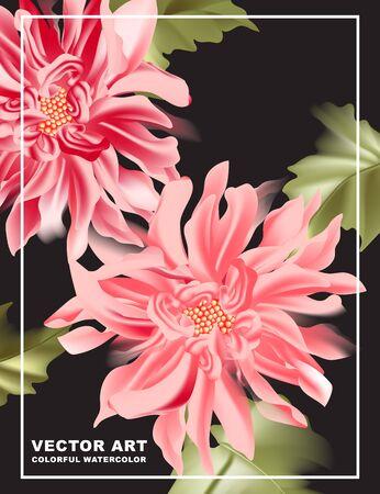 Dahlia print poster on dark background. Pink sunflower bloomposter, daisy blush nature illustration,  botanical card design, save the date. Romantic summer wild flower realistic vector.